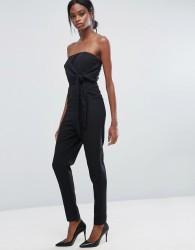 Lavish Alice Bandeau Jumpsuit With Tie Detail - Black