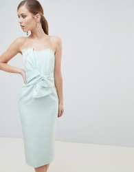 Lavish Alice Bandeau Midi Dress with Bow Detail - Green