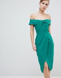 Lavish Alice Bardot Knot Front Midi Pencil Dress - Green