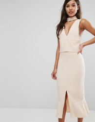 Lavish Alice Choker Detail Flounce Hem Midi Dress - Pink