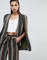 Lavish Alice classic cape blazer in stripe print - Green