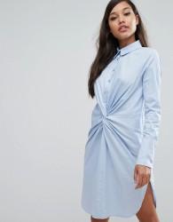 Lavish Alice Cotton Twist Front Shirt Dress - Blue