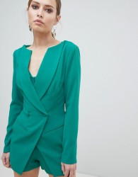 Lavish Alice Double Breasted Blazer Style Playsuit - Green