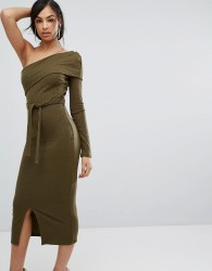 Lavish Alice Double Layer One Shoulder Rib Knit Midi Dress In Khaki - Green