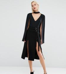 Lavish Alice Double Split Midi Skirt - Black
