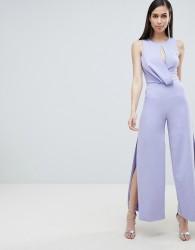 Lavish Alice draped asymmetric wide leg jumspuit - Blue