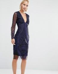 Lavish Alice Embroidered Mesh Deep Plunge Side Split Midi Dress - Navy