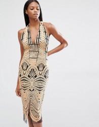 Lavish Alice Embroidered Mesh Halterneck Open Back Midi Dress - Brown