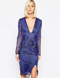 Lavish Alice Embroidered Wrap Midi Dress with Deep Plunge - Blue