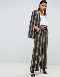 Lavish Alice fold over wide leg trousers in khaki stripe print - Green
