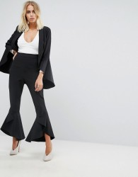 Lavish Alice Frill Fitted Trousers - Black