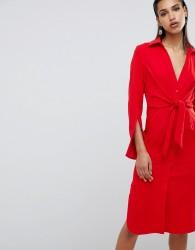 Lavish Alice gathered tie waist shirt dress - Red