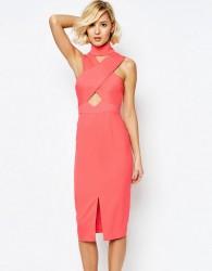 Lavish Alice High Neck Cut-Out Detail Centre Split Midi Dress - Pink