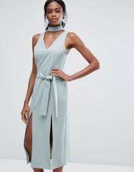 Lavish Alice Keyhole Tie Belt Double Split Midi Dress - Green