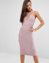 Lavish Alice Metal Ring Plunge Detail Midi Dress - Pink