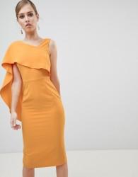 Lavish Alice Midi Dress with Drape One Shoulder - Yellow