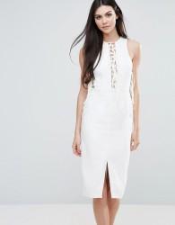Lavish Alice Midi Dress With Lace Up Front - White