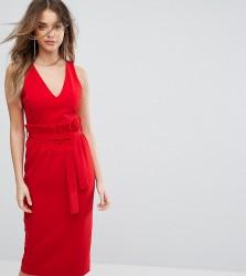 Lavish Alice Midi Dress With Paper Bag Waist Detail - Red