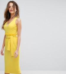 Lavish Alice Midi Dress With Paper Bag Waist Detail - Yellow