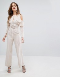 Lavish Alice Nude Lace Up Wide Leg Trousers - Pink