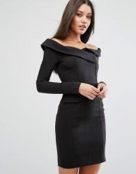 Lavish Alice Off Shoulder Tailored Mini Dress - Black
