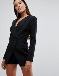 Lavish Alice Off The Shoulder Double Breasted Blazer Style Playsuit - Black