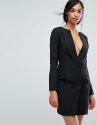 Lavish Alice Off The Shoulder Tuxedo Mini Dress - Black