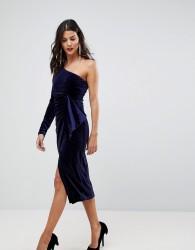 Lavish Alice One Shoulder Midi Dress With Twist Detail In Velvet - Purple