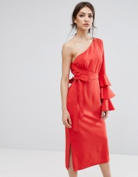 Lavish Alice One Shoulder Pencil Dress With Exaggerated Ruffle Sleeve - Red