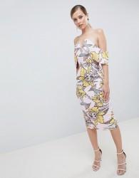 Lavish Alice Plunge Front Bandeau Printed Midi Dress - Multi