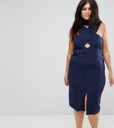 Lavish Alice Plus Cross Neck Cut Out Detail Halter Pencil Dress - Navy