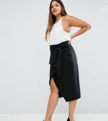 Lavish Alice Plus Wrap Front Detail Column Midi Skirt - Black