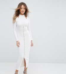 Lavish Alice Ribbed Midi Dress With Hook & Eye Detail - Cream