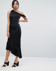 Lavish Alice Satin One Shoulder Asymmetric Hem Dress - Black