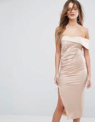 Lavish Alice Satin Ruched One Shoulder Midi Dress - Brown