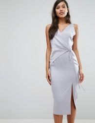 Lavish Alice Satin Wrap Tie Midi Dress - Blue