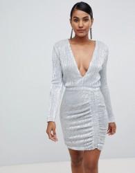 Lavish Alice sequin embellished mini dress in silver iridescent - Silver