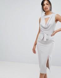 Lavish Alice Sleeveless Cowl Neck Midi Dress With Double Front Split - Grey