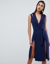 Lavish Alice sleeveless tuxedo midi dress with double split skirt - Navy