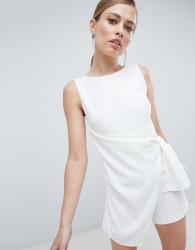 Lavish Alice Tailored Wrapover Playsuit - White