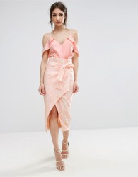 Lavish Alice Tie Front Wrap Midi Skirt In Abstract Print - Multi