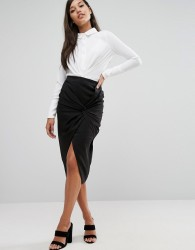 Lavish Alice Twist Front Midi Skirt - Black