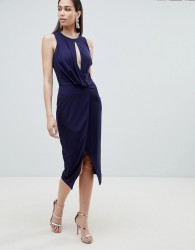 Lavish Alice wrap front midi dress - Navy