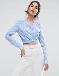 Lavish Alice Wrap Tie Shirt In Stripe - Multi