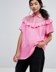 Lazy Oaf Bad For You Sheer Frilly Oversized T-Shirt - Pink