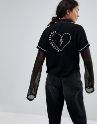 Lazy Oaf Beyond Repair Shirt With Heart Back - Black