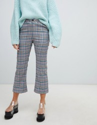 Lazy Oaf check kick flare trousers with bow pocket detail - Grey