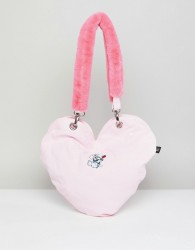Lazy Oaf Dog Heart Tote Bag With Faux Fur Handle - Pink