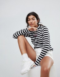 Lazy Oaf Fitted Long Sleeve Top With Lazy Patch In Bold Stripe - Black