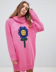 Lazy Oaf flower power sweater dress - Pink